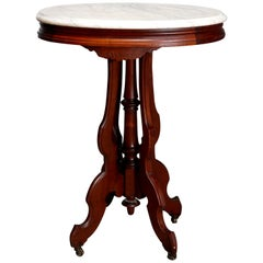 Antique Renaissance Revival Walnut Oval Marble Top Table, Circa 1890