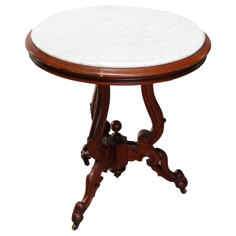 Antique Renaissance Revival Walnut Round Marble-Top Center Table, circa 1890