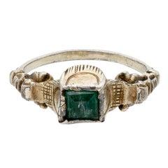 Antique Renaissance-Style Silver Gilt Emerald Ring