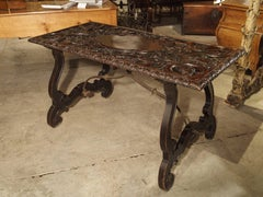 Antique Renaissance Style Walnut Wood Centre Table from Italy, 19th Century