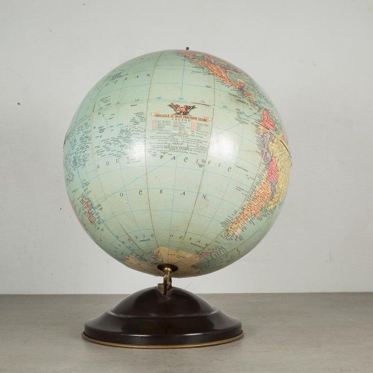 Plated Antique Replogle Standard Globe, circa 1949 For Sale
