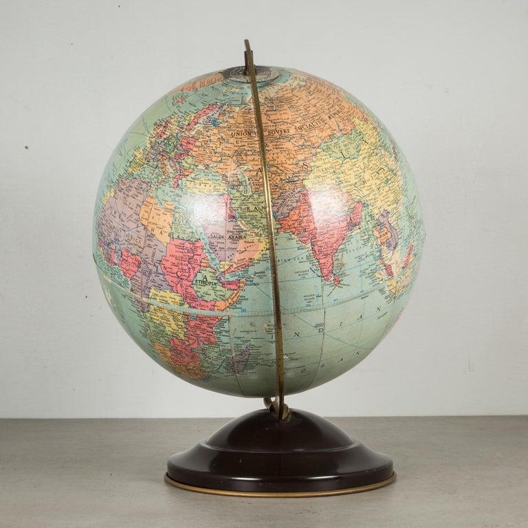 Antique Replogle Standard Globe, circa 1949 In Good Condition For Sale In San Francisco, CA