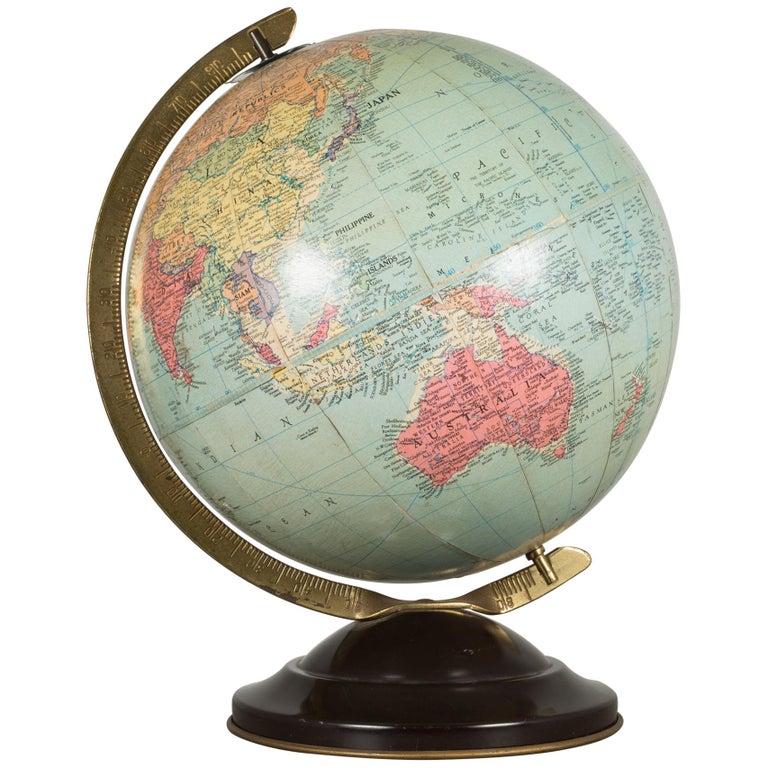 Antique Replogle Standard Globe, circa 1949 For Sale