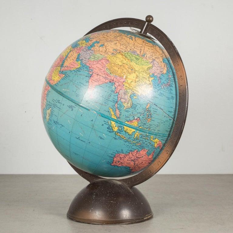 Art Deco Antique Replogle Standard Globe, circa Pre 1948 For Sale