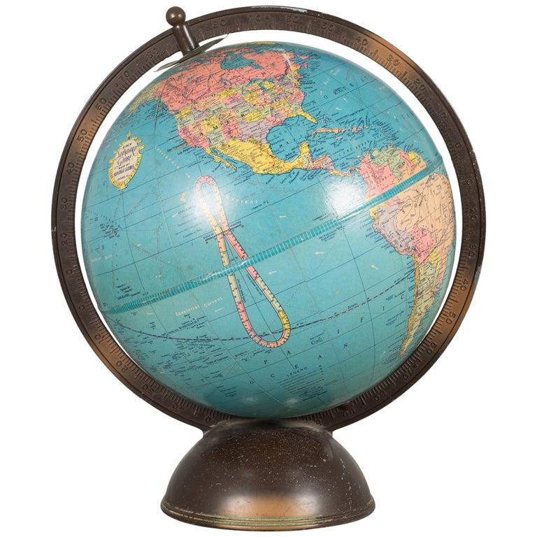 Antique Replogle Standard Globe, circa Pre 1948 For Sale