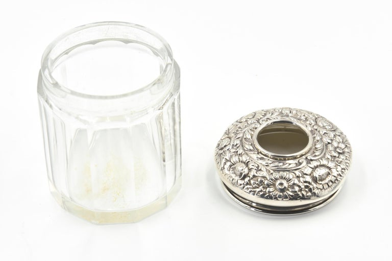 Sterling Silver Antique Repose Sterling Flower Vanity Hair Receiver Jar by R Blackinton & Co. For Sale
