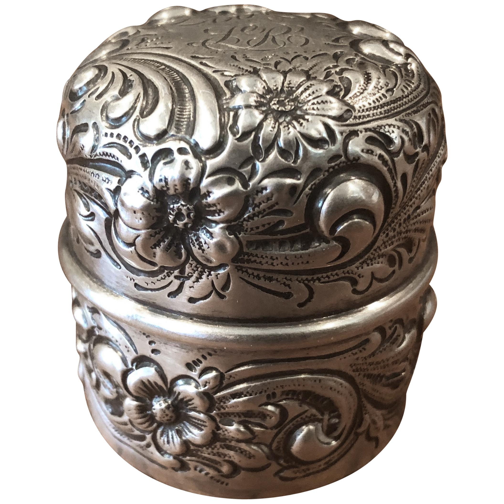 Antique Repousse Sterling Inkwell by Howard & Co.
