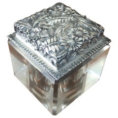 Antique Repousse Sterling Inkwell by Jacobi & Jenkins