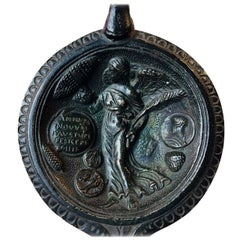 Antique Repro of Ancient Roman Bronze Oil Lamp, Annum Novum Faustum Felicem