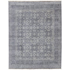 Antique Reproduction Indian Khotan Rug in Shades of Gray and Blue