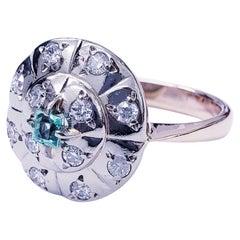 Antique Retro 1.30 Carat Diamonds and Emerald 583 Pink Gold Ring