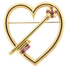 Antique Retro 14 Karat Gold Ruby Heart and Key Brooch