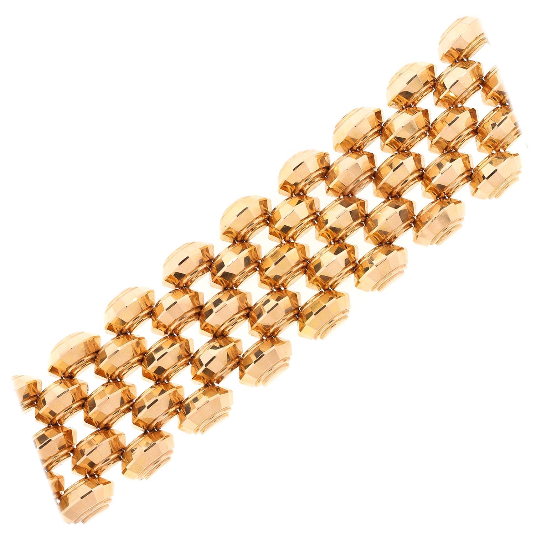 Vintage Retro 18 Karat Rose Gold Wide Tank Bracelet