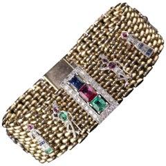 Retro/Art Deco Style 14 Karat Yellow Gold and Platinum Charm Bracelet