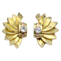 Antique Retro Diamond Gold Earclips