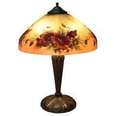 Antique Reverse Painted Style Pittsburg Table Lamp with Poppies