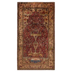 Antique Reversible Farahan Golden-Beige and Blue Wool and Silk Persian Rug