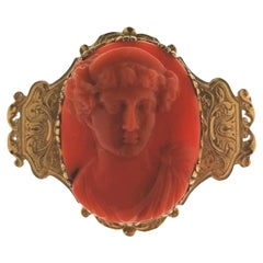 Antique Revival Coral Cameo Brooch in 22 Carat Gold