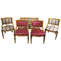 Antique Revival Olive Burlwood Parlor Set of 4 Chairs Settee Neoclassical
