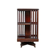 Antique Revolving Bookcase, English, Edwardian, Walnut, Bookshelf, circa 1910