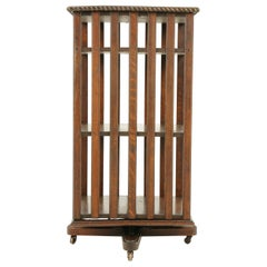 Antique Revolving Bookcase, Tall Oak Three Tiered Bookcase, Scotland, 1910