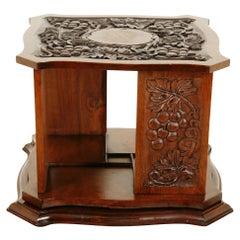 Antique Revolving Tabletop Bookcase, Arts + Crafts, Walnut, Scotland 1910, B2545