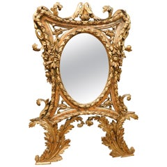 Antique Rich Golden Mirror with Leaves, 18th Century Italy