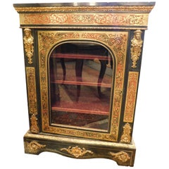 Antique Richly Decorated Showcase, Black Gold Brass Inlays, 1850, Italy