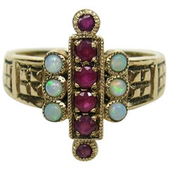 Antique Ring 9CT English Gold Red Ruby & Opal