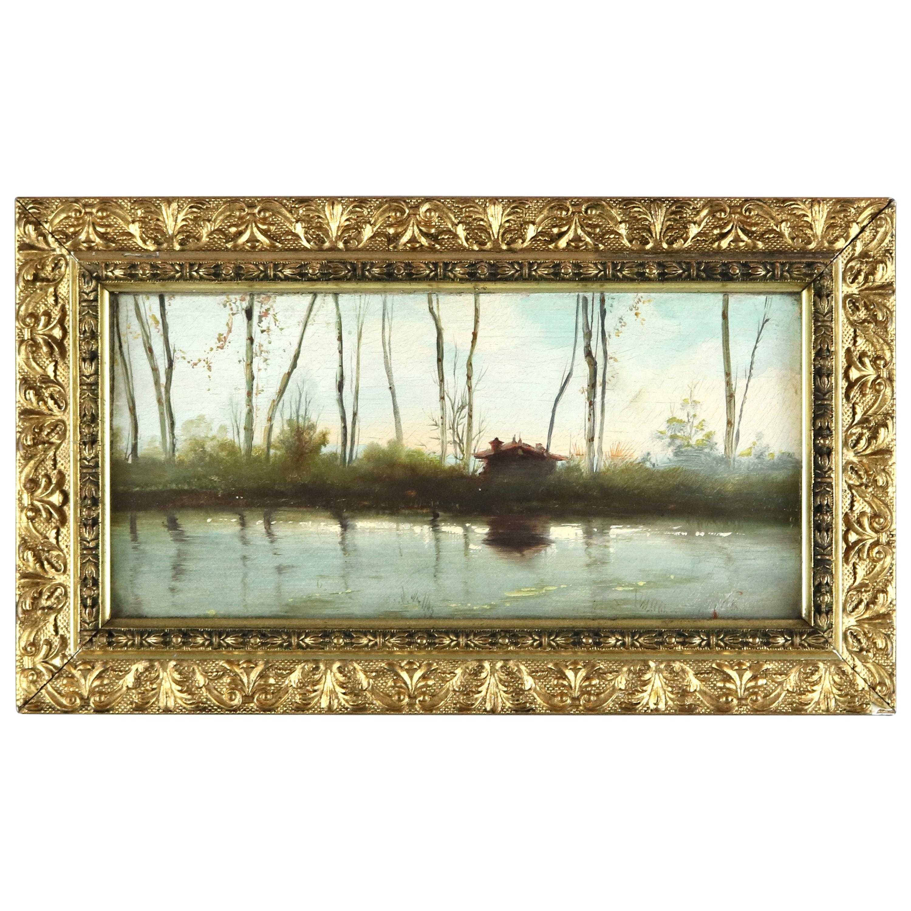 Antique River Valley Scene with Cabin, Oil Painting on Hard Board, 19th Century