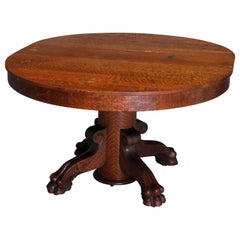 Antique R.J. Horner Carved Oak Split Pedestal Dining Table with Paw Feet