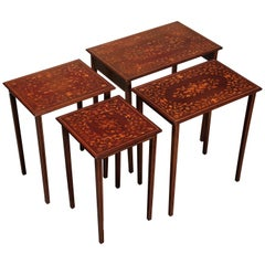 Antique R.J. Horner Mahogany Marquetry Satinwood Inlay Nesting Tables circa 1910