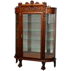 Antique RJ Horner School Carved Oak Claw Foot China Cabinet, Circa 1920
