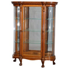 Antique RJ Horner School Carved Oak and Curved Glass China Cabinet, circa 1900