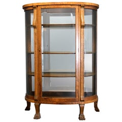 Antique R.J. Horner School Carved Oak & Curved Glass Mirrored China Cabinet