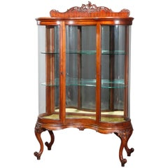 Antique RJ Horner School French Style Double Serpentine China Cabinet circa 1900