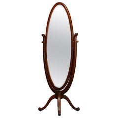 Antique R.J. Horner School Oak Cheval Dressing Mirror, circa 1900