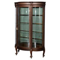Antique RJ Horner School Oak & Curved Glass China Cabinet, Circa 1900