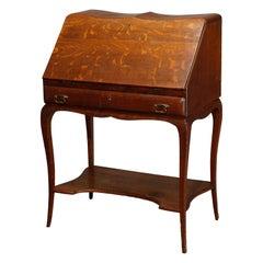 Antique RJ Horner School Oak Drop Front Ladies Writing Desk, Circa 1910