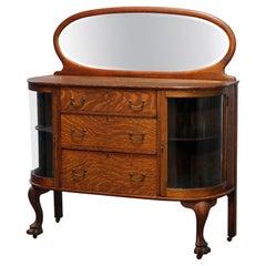 Antique RJ Horner School Oak Mirrored Demilune China Buffet, Circa 1900
