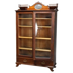 Antique RJ Horner School Oak Two Door Bookcase Over Two Drawers, Circa 1900