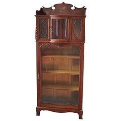 Antique RJ Horner School Victorian Carved Oak Curio Bookcase, 19th Century