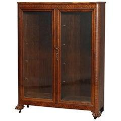 Antique RJ Horner Style Oak Claw Foot Double Door Bookcase, circa 1910