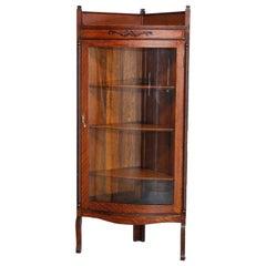 Antique RJ Horner Style Oak Corner China Cabinet, circa 1910