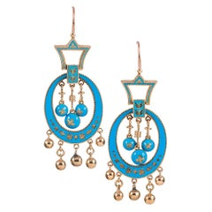 Antique Robin's Egg Blue Enamel Fringe Earrings