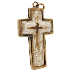 Antique Rock Crystal and 14 Karat Gold Cross or Crucifix with a Christian Relic