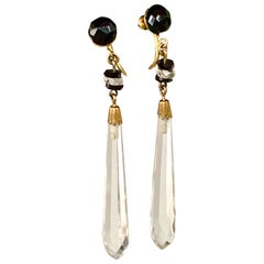 Antique Rock Crystal and Black Onyx 14 Karat Yellow Gold Dangle Earrings
