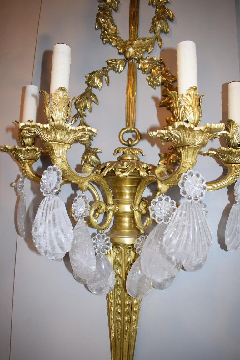 French Antique Rock Crystal and Gilt Bronze Sconces For Sale