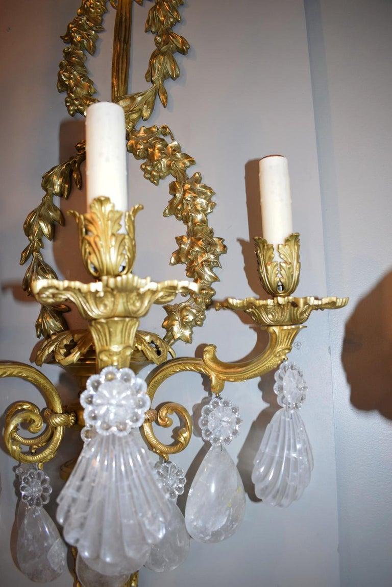 Hand-Carved Antique Rock Crystal and Gilt Bronze Sconces For Sale
