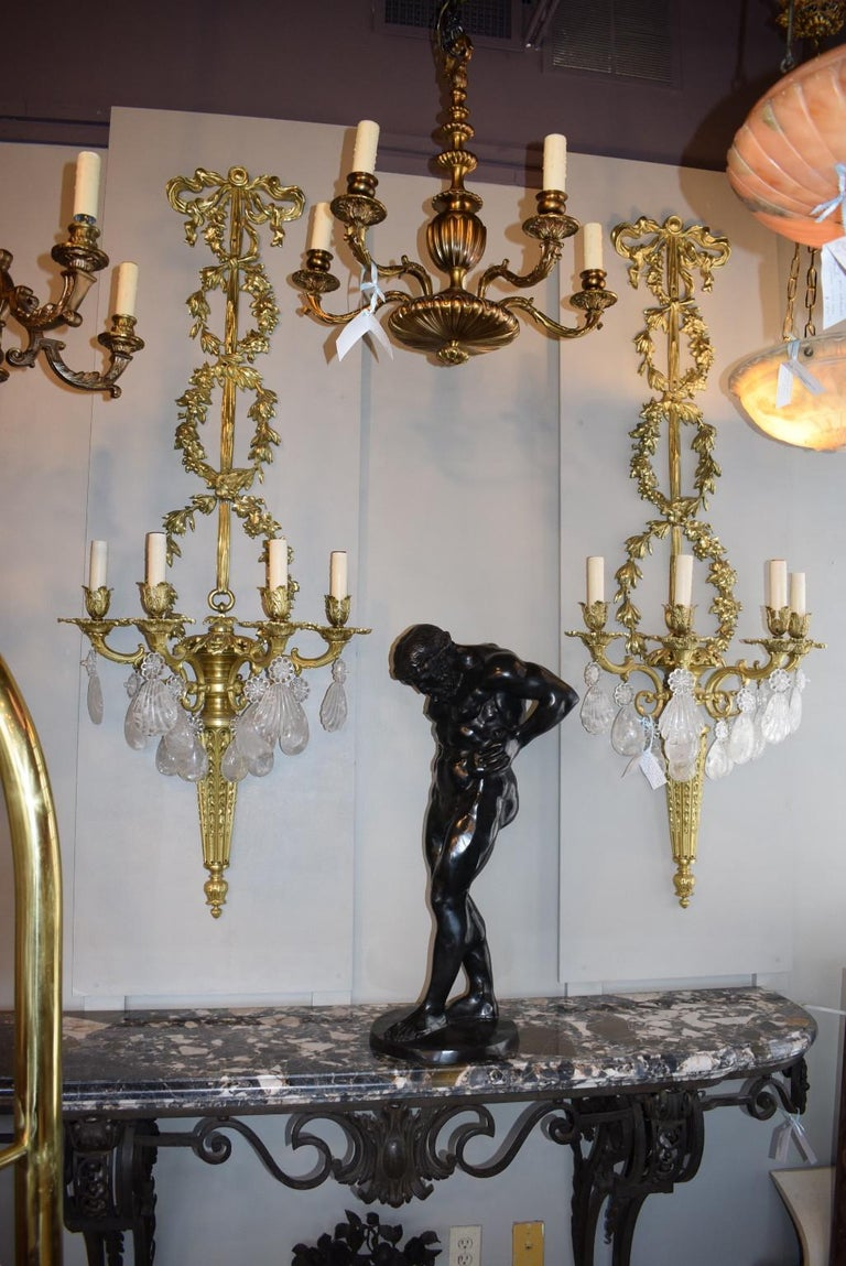 Antique Rock Crystal and Gilt Bronze Sconces In Excellent Condition For Sale In Atlanta, GA